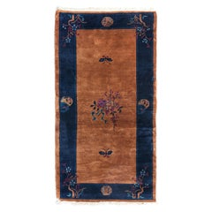 Vintage Navy Blue Border and Gold Art Deco Chinese Area Rug, circa 1930s