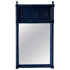 Vintage Navy Blue Lacquered Greek Key Faux Bamboo Wall Mirror
