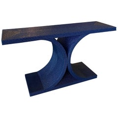Vintage Navy Blue Lacquered Rope Console Table Karl Springer Style