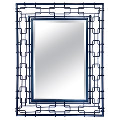 Vintage Navy Blue Metal Faux Bamboo Link Newly Powdercoated Wall Mirror