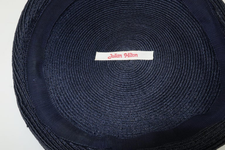 Vintage Navy Blue Straw Fascinator Style Hat With Red Finial For Sale 5