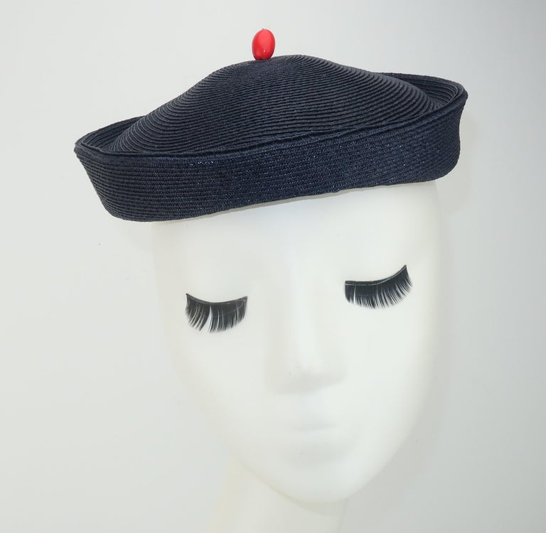 Black Vintage Navy Blue Straw Fascinator Style Hat With Red Finial For Sale