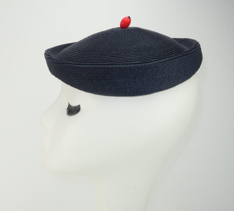 Women's Vintage Navy Blue Straw Fascinator Style Hat With Red Finial For Sale