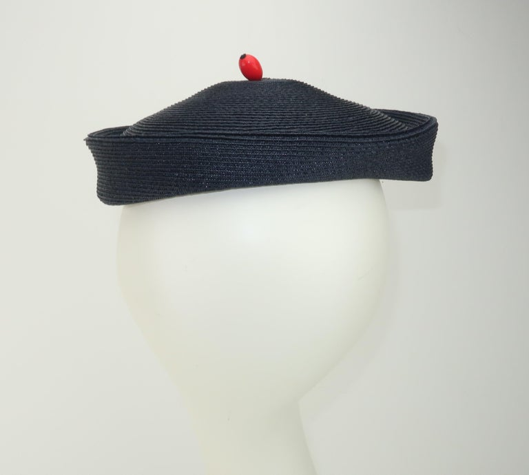 Vintage Navy Blue Straw Fascinator Style Hat With Red Finial For Sale 1