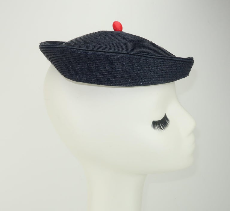 Vintage Navy Blue Straw Fascinator Style Hat With Red Finial For Sale 2