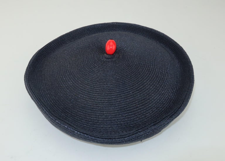 Vintage Navy Blue Straw Fascinator Style Hat With Red Finial For Sale 3