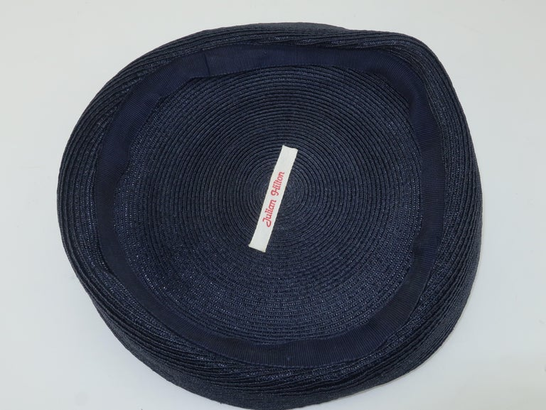 Vintage Navy Blue Straw Fascinator Style Hat With Red Finial For Sale 4