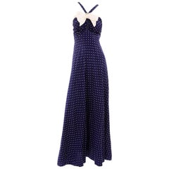 Vintage Navy Blue & White Polka Dot Halter Dress W Bow & Bolero Jacket