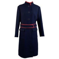 Vintage Navy Blue Wool Belted Coat with Contrast Trim