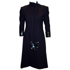 Vintage Navy Dress and Scarf with Sequin Detail