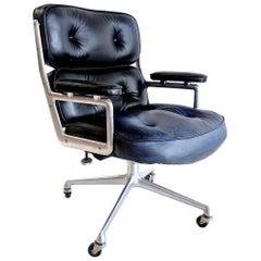 Vintage Navy Leather Eames Time Life Chair