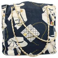 Vintage nearly 1989-90 Chanel Canvas and Leather  Tote Bag