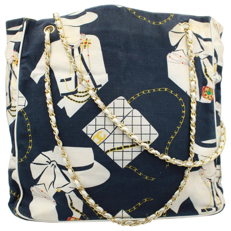 8f43d277e8b9f3 Vintage nearly 1989-90 Chanel Canvas and Leather Tote Bag For Sale ...