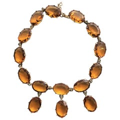 Vintage necklace, amber colored rhinestones 1940s gold plated