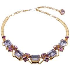 Vintage Necklace Faux Amethyst 1950s