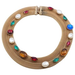 Vintage Necklace with Faux Gemstones 1950s