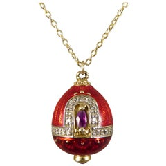 Vintage Necklace with Ruby and Diamond Set of Red Enamel and Gold Pendant