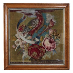 Vintage Needlepoint, Tufted Wool and Glass Beaded Framed Tapestry