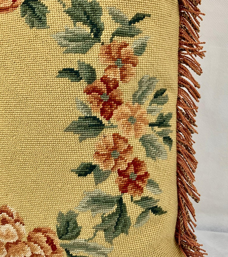 English Fringed Vintage Hand Needlepointed Cushion/Pillow with Decorative Floral Motif For Sale