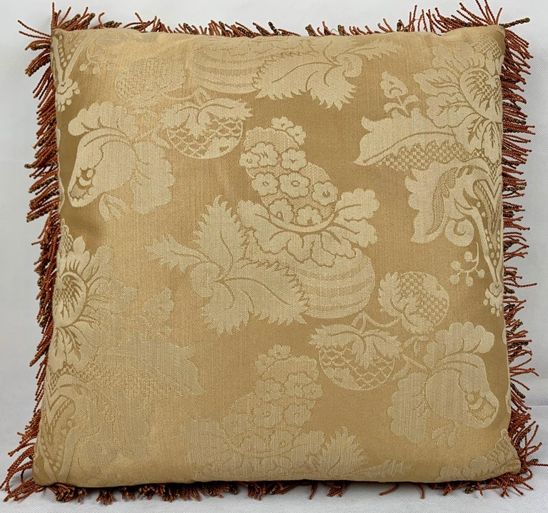 Hand-Crafted Fringed Vintage Hand Needlepointed Cushion/Pillow with Decorative Floral Motif For Sale