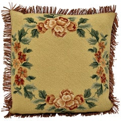 Hand Needlepointed Fringed Cushion/Pillow with Decorative Floral Motif