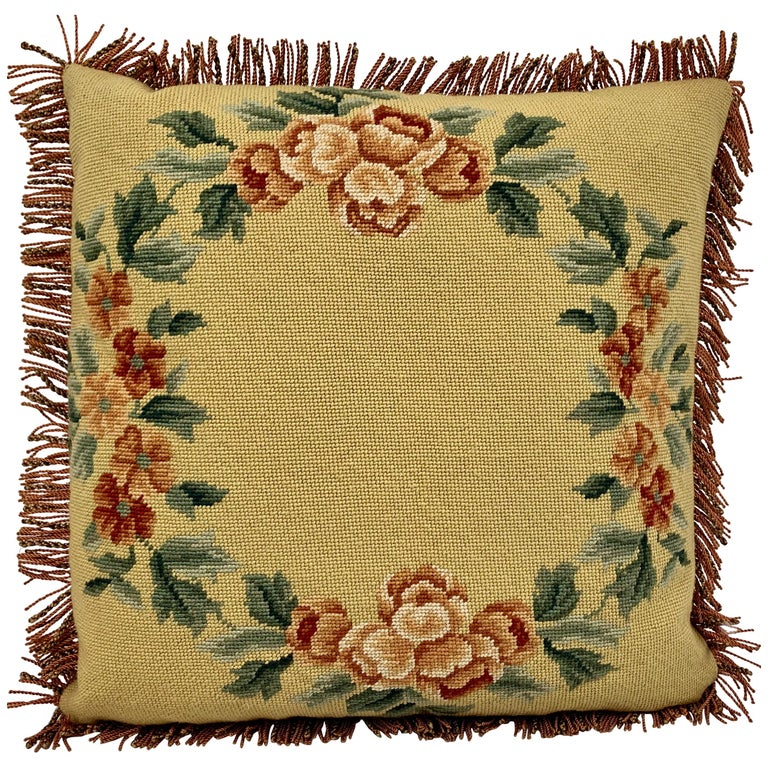 Fringed Vintage Hand Needlepointed Cushion/Pillow with Decorative Floral Motif For Sale