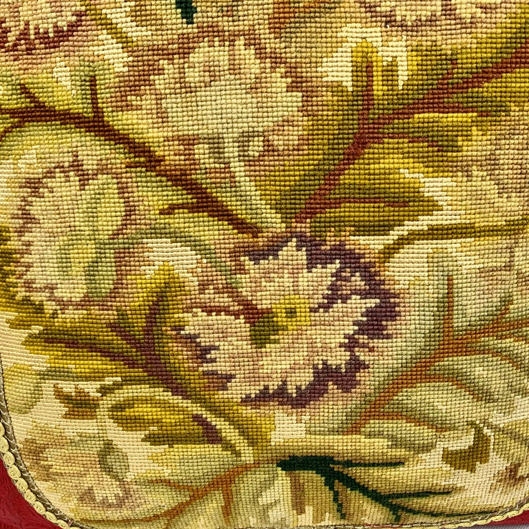 Edwardian Cushion or Pillow in Vintage Hand Stitched Needlepoint For Sale