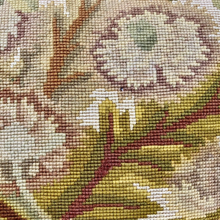Hand-Crafted Cushion or Pillow in Vintage Hand Stitched Needlepoint For Sale