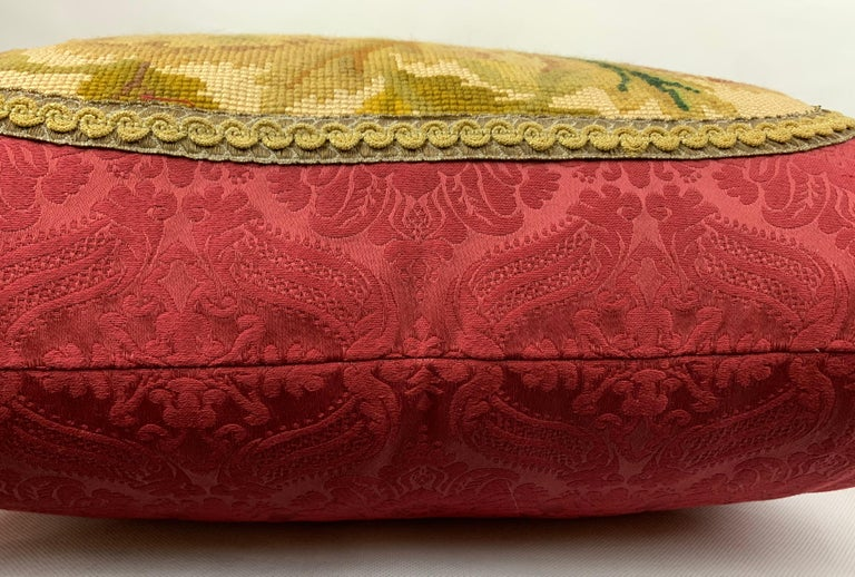 Wool Cushion or Pillow in Vintage Hand Stitched Needlepoint For Sale