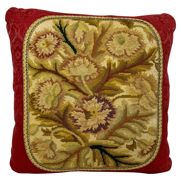 Cushion or Pillow in Vintage Hand Stitched Needlepoint For Sale