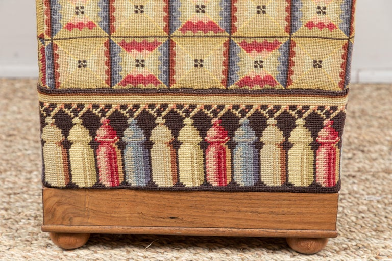 American Vintage Needlepoint Foot Stool  For Sale