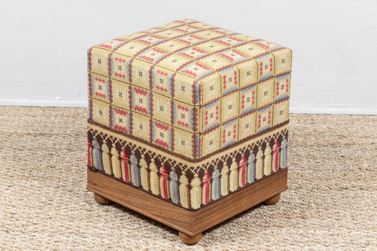 20th Century Vintage Needlepoint Foot Stool  For Sale