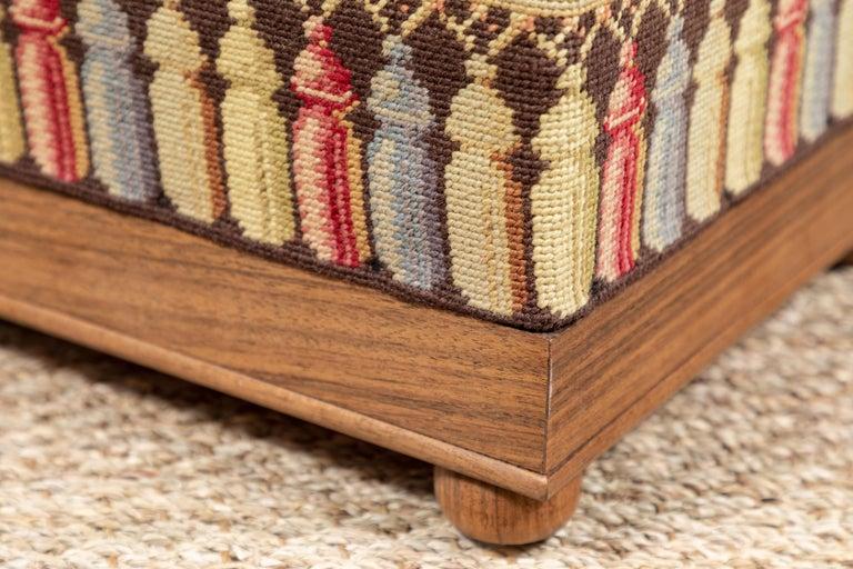 Wool Vintage Needlepoint Foot Stool  For Sale