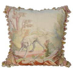 Vintage Needlepoint Pillow with Hunting Dog and Pheasant