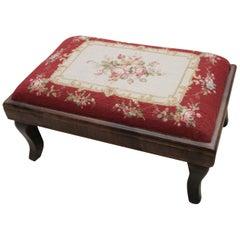 Vintage Needlepoint Rug Footstool, Handwoven Floral Aubusson Rug, Red Tabouret
