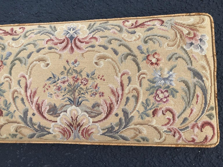 Wool Vintage Needlepoint Upholstery Wall Hanging  For Sale
