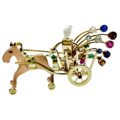 Vintage Neiman Marcus 14 Karat Gold and Gemstone Horse and Carriage Brooch