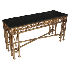 Vintage Neoclassical Gilded Golden Wrought Iron Marble-Top Console Table