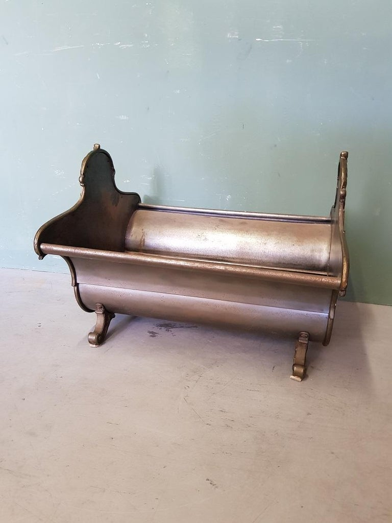 European Vintage Neoclassical Metal Firewood Bin, from the Second Half of 20th Century For Sale