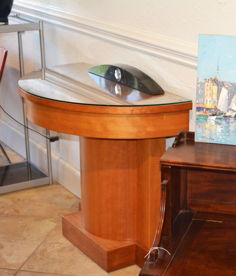 Neoclassical Style Cherry Architectural Entry Table with Protective Glass For Sale 6