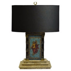 Vintage Neoclassical Style Figural Painted Nude Woman Bronze Marble Table Lamp