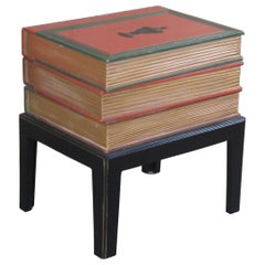Vintage Neoclassical Style Modern Stacked Book Side End Accent Table Designer