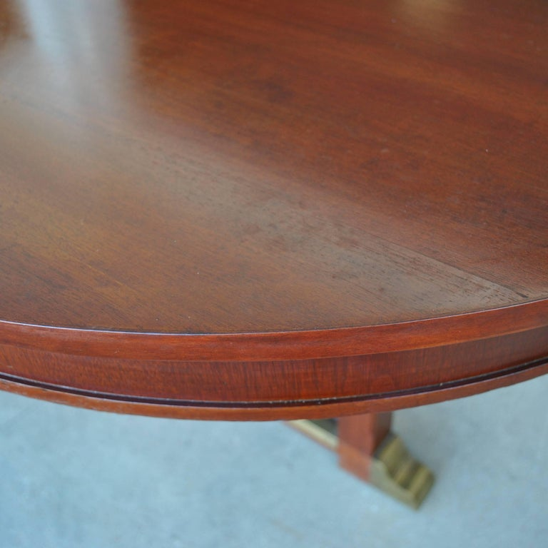 Vintage Neoclassical Style Racetrack Dining Conference Table In Good Condition For Sale In Pasadena, TX