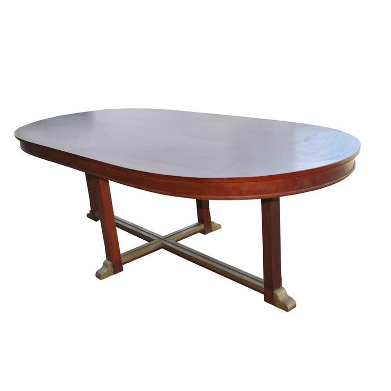 Vintage Neoclassical Style Racetrack Dining Conference Table For Sale