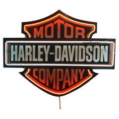 Vintage Neon Harley Davidson Motor Company Dealership Sign Motorcycle