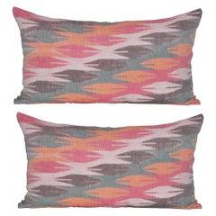 Vintage Nepali Orange White Pink Red Green Dhaka with Irish Linen Cushion Pillow