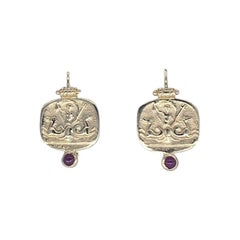 Vintage Neptune Ruby Gemstone Italy Drop Earrings