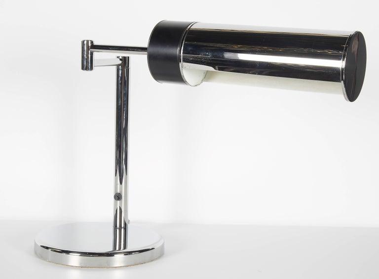 Enameled Vintage Nessen Studios Chrome Desk Lamp with Swing Arm, 1960s For Sale