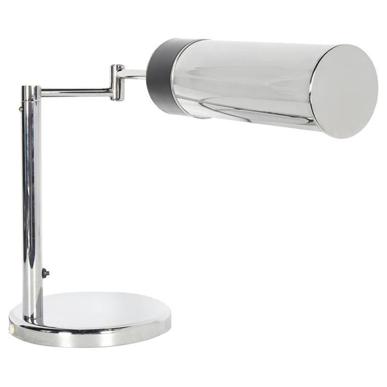 Vintage Nessen Studios Chrome Desk Lamp with Swing Arm, 1960s For Sale