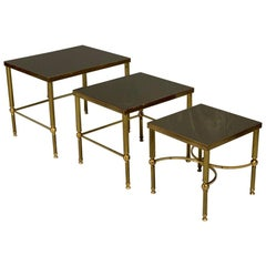Vintage Nest of 3 Brass and Dark Glass Tables in the Style of Maison Jansen